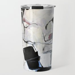 Many Road Abstract Contemporary Artwork Lines Marks Pink Black White Travel Mug