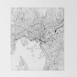 Oslo White Map Throw Blanket