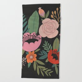 Floral Guache Beach Towel