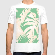 Tropical Coral Green Palm Leaf Pattern White Mens Fitted Tee MEDIUM