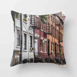 Picturesque street view in Greenwich Village, New York Throw Pillow
