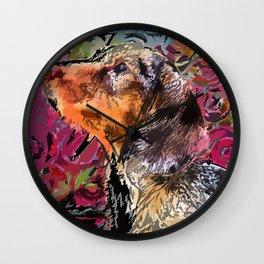 """Cucciolo di Graffito"" ~ Dachshund, Weiner Dog, Doxie, everywhere! Wall Clock"