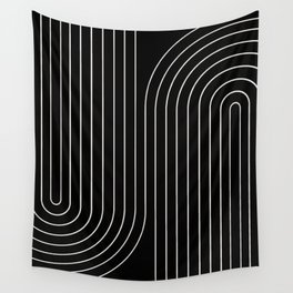 Minimal Line Curvature - Black and White II Wall Tapestry