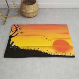 Magnificent Sunset At Shoreline Fantasy Ultra HD Rug
