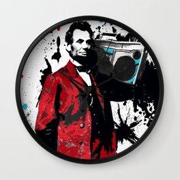 ABRAHAM LINCOLN INK SPLASH RED MAKE MUSIC NOT WAR Wall Clock