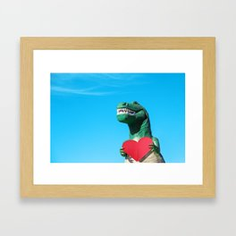 Tiny Arms, Big Heart: Tyrannosaurus Rex with Red Heart Framed Art Print