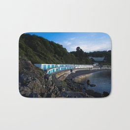Meadfoot Imposing Cliffs And Beach Huts Bath Mat