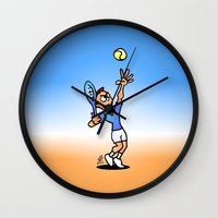 tennis Wall Clocks featuring Tennis by Cardvibes.com - Tekenaartje.nl