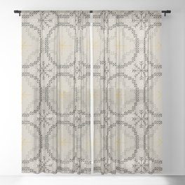 Stitched Bubbles Beige Sheer Curtain