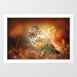 Owl on Fire by GEN Z Art Print