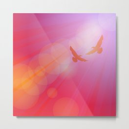 Birds, seagulls silhouette on pink background, sunset, dawn. Metal Print