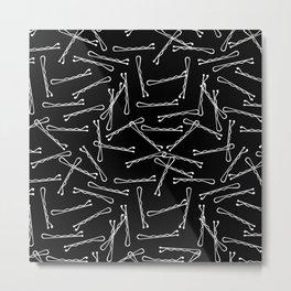 BOBBY PINS ((white on black)) Metal Print