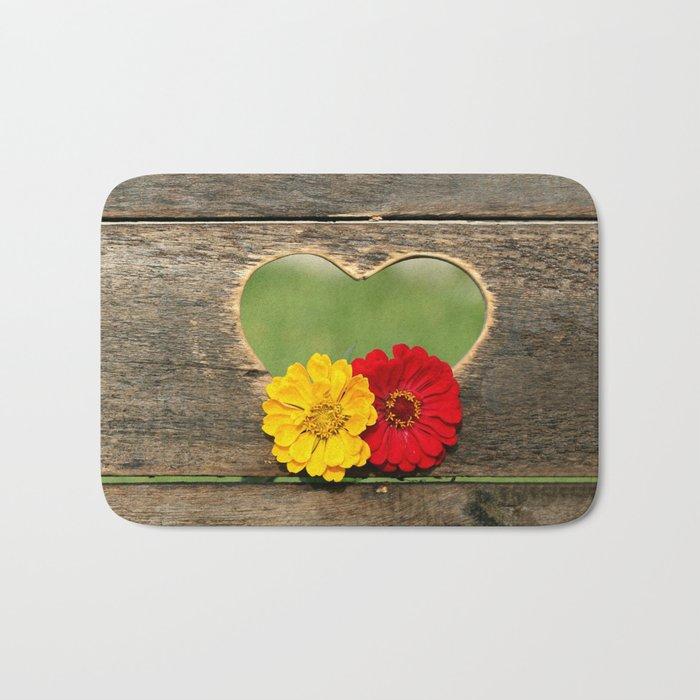 Wooden Heart with Flowers Bath Mat