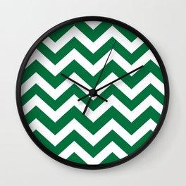 Dartmouth green - green color -  Zigzag Chevron Pattern Wall Clock