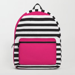 Hot Pink Magenta and Black and White Stripe Backpack