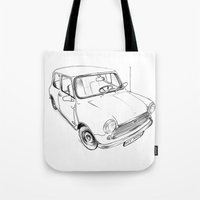 mini cooper Tote Bags featuring Mini Cooper by Neko Naku