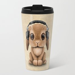 Cute Baby Bunny Dj Wearing Headphones Travel Mug