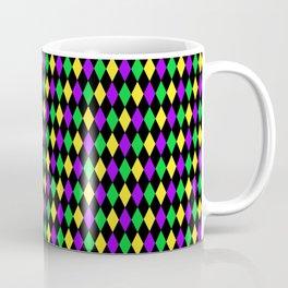 Mardi Gras Diamonds on Black Coffee Mug