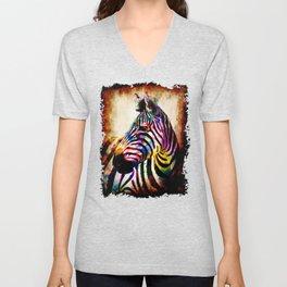 Zebra in Color Unisex V-Neck