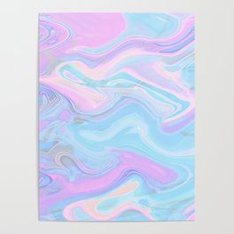 Sea Marble Candy Pattern - Violet, Aqua and Blue Poster