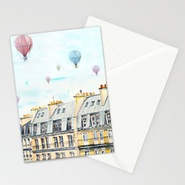Architecture Paris and air balloon watercolor Stationery Cards