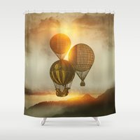 trip Shower Curtains featuring A Trip down the Sunset by Viviana Gonzalez