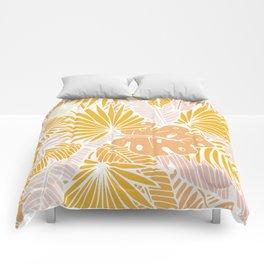 Yellow palm blossom Comforters