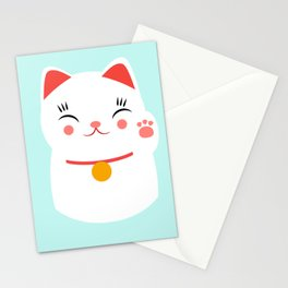 Lucky happy Japanese cat Stationery Cards