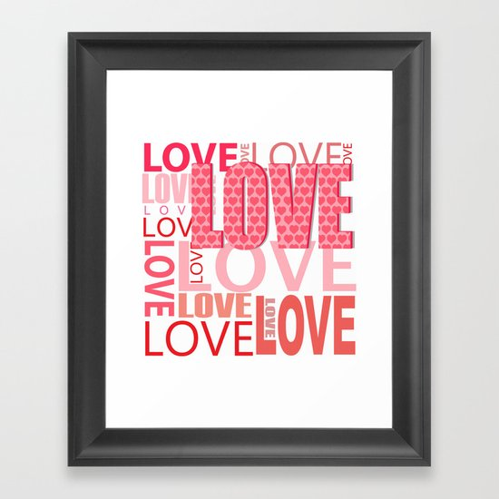 The Word Love In Red With Hearts Framed Art Print