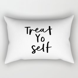 Treat Yo Self black and white contemporary minimalist typography design home wall decor bedroom Rectangular Pillow