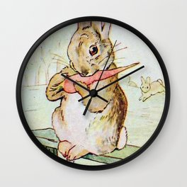 Peter Rabbit eating his carrot by Beatrix Potter Wall Clock