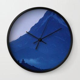 Moody Blue Hour at the Big Mountain   Mount Kazbek Georgia   Caucasus Mountains Travel Photography Wall Clock