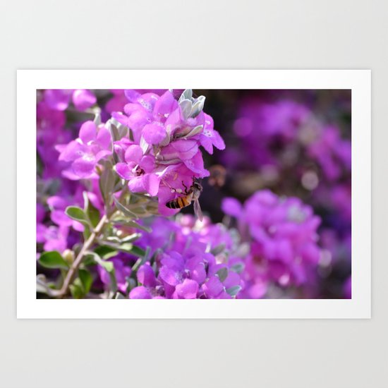Bubble Bee on Lilac Flowers Art Print