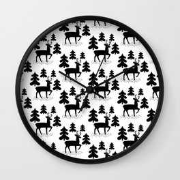 Deer In The Forest Pattern Wall Clock