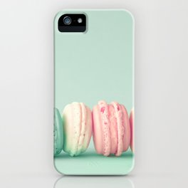 Sweet macarons, macaroons over mint iPhone Case