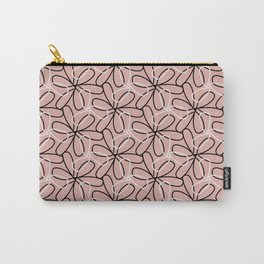 Pink Abstract Flower Pattern Carry-All Pouch