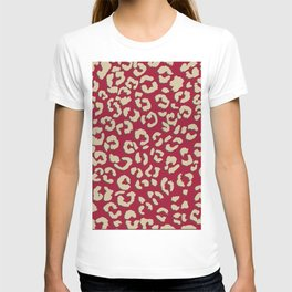 Modern brown beige leopard pattern print on red color trends T-shirt
