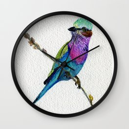Lilac Breasted Roller by Maureen Donovan Wall Clock