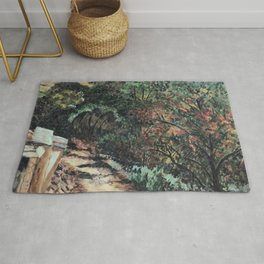 Lighted Path Through Green - Oil on canvas painting Rug