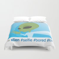 selfie Duvet Covers featuring Selfie by Michael Patrick