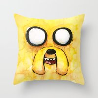 jake Throw Pillows featuring Jake Face by Olechka