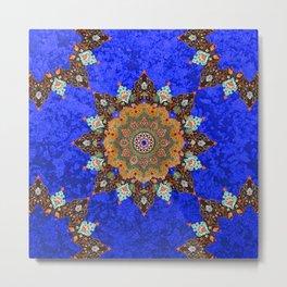 Gold Mandala in Blue Metal Print