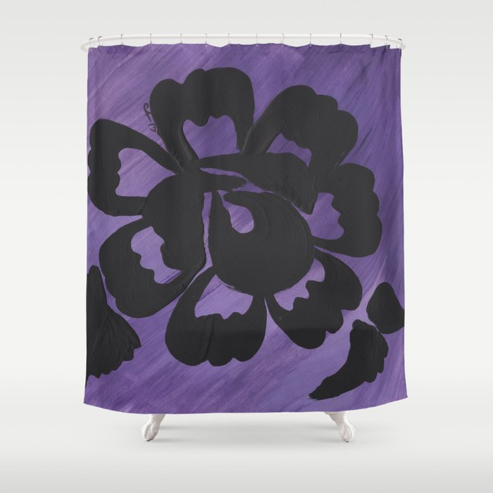 Purple Striped Rose Silhouette Art Design By Christina Appling Shower Curtain Lcapplingphotoart