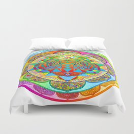 Inner Strength Psychedelic Tiger Sri Yantra Mandala Duvet Cover