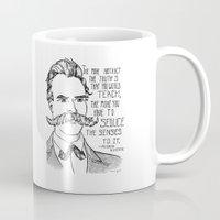 nietzsche Mugs featuring Friedrich Nietzsche by Alexandra Ensign