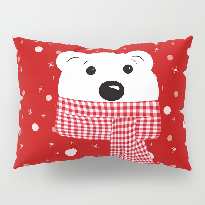 Muzzle of a polar bear on a red background. Pillow Sham