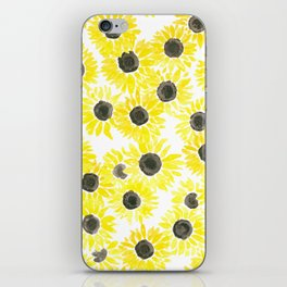 Sunflowers watercolor pattern iPhone Skin