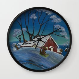 Altered Painting - Dino Snow Wall Clock