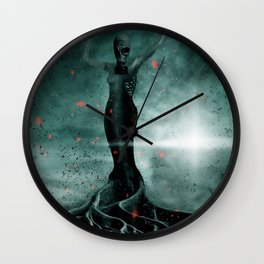 The Burning Sakura Wall Clock