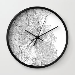 Copenhagen Map White Wall Clock